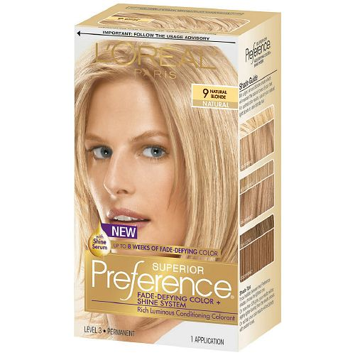 L'Oreal Superior Preference Natural Blonde 9A hair dye.